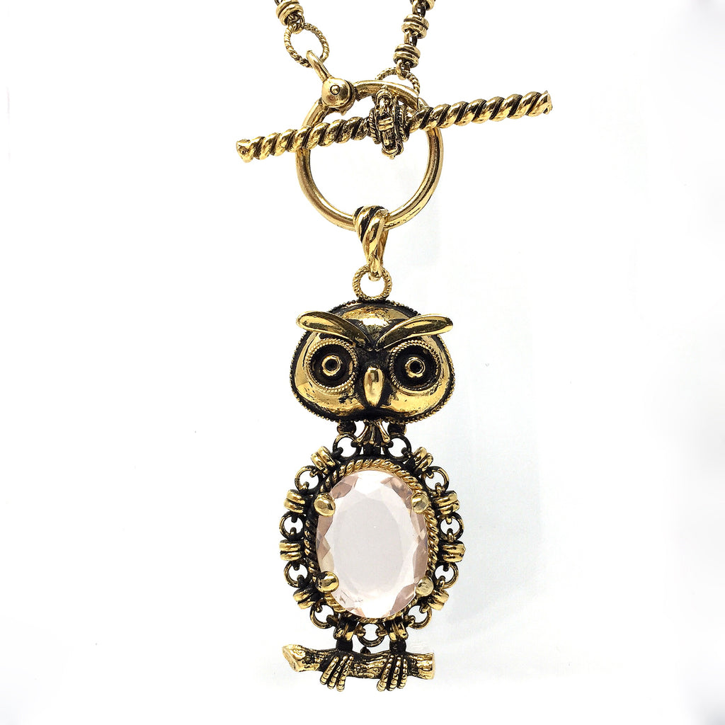 The Wise Owl Rose Quartz Pendant (Antique Gold)