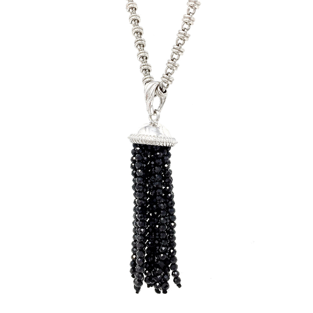 Black Spinel Tassel Pendant (Rhodium)