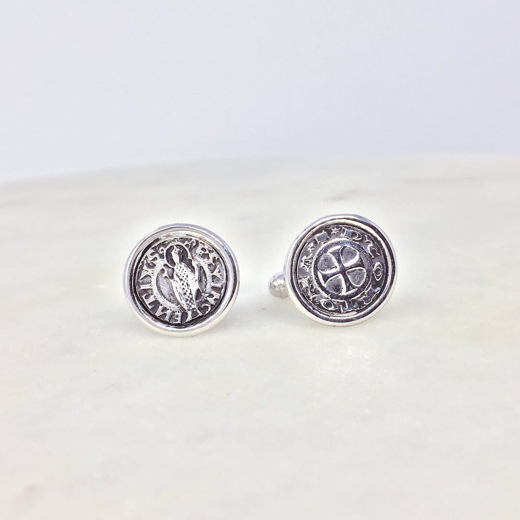 Cortona Coin Cufflinks (Rhodium)