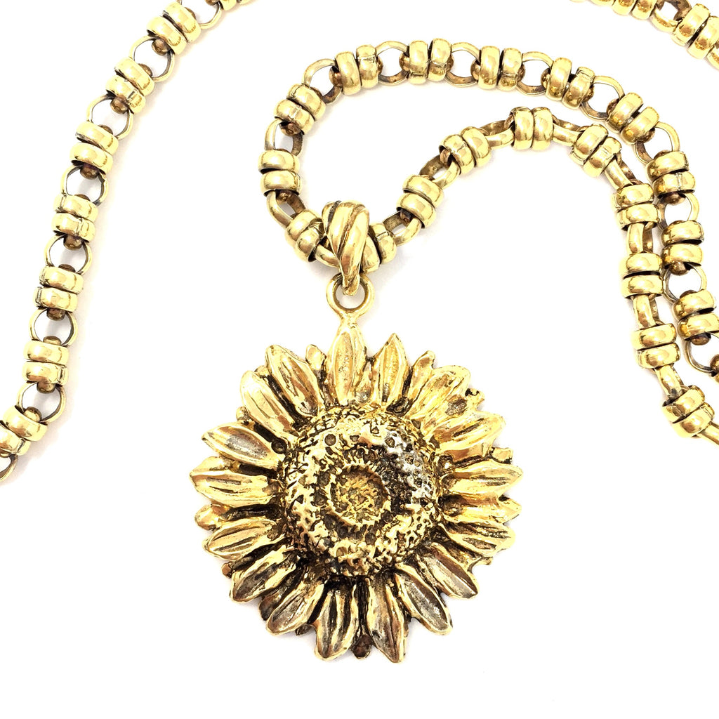 Sculpture Sunflower Pendant Antique Gold