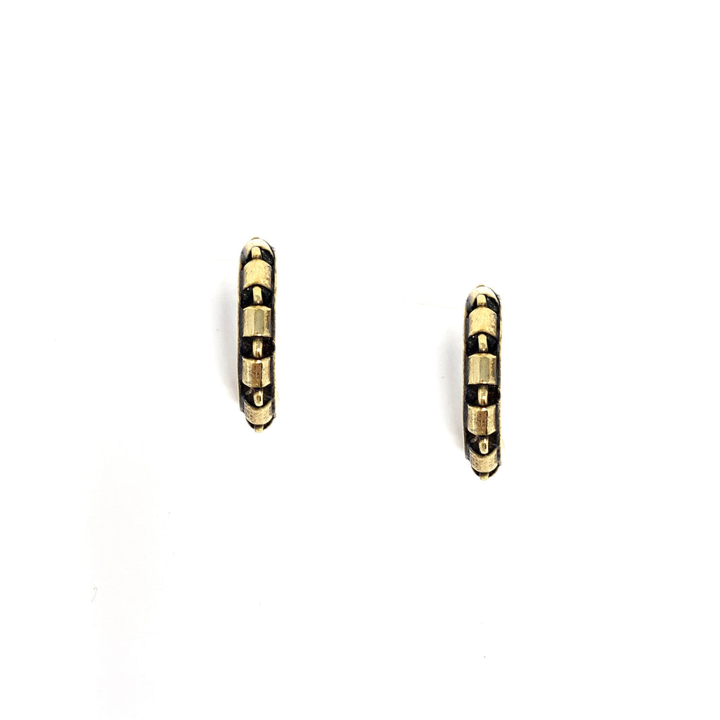 Earrings Cylinders 3mm Hoops Antique Gold