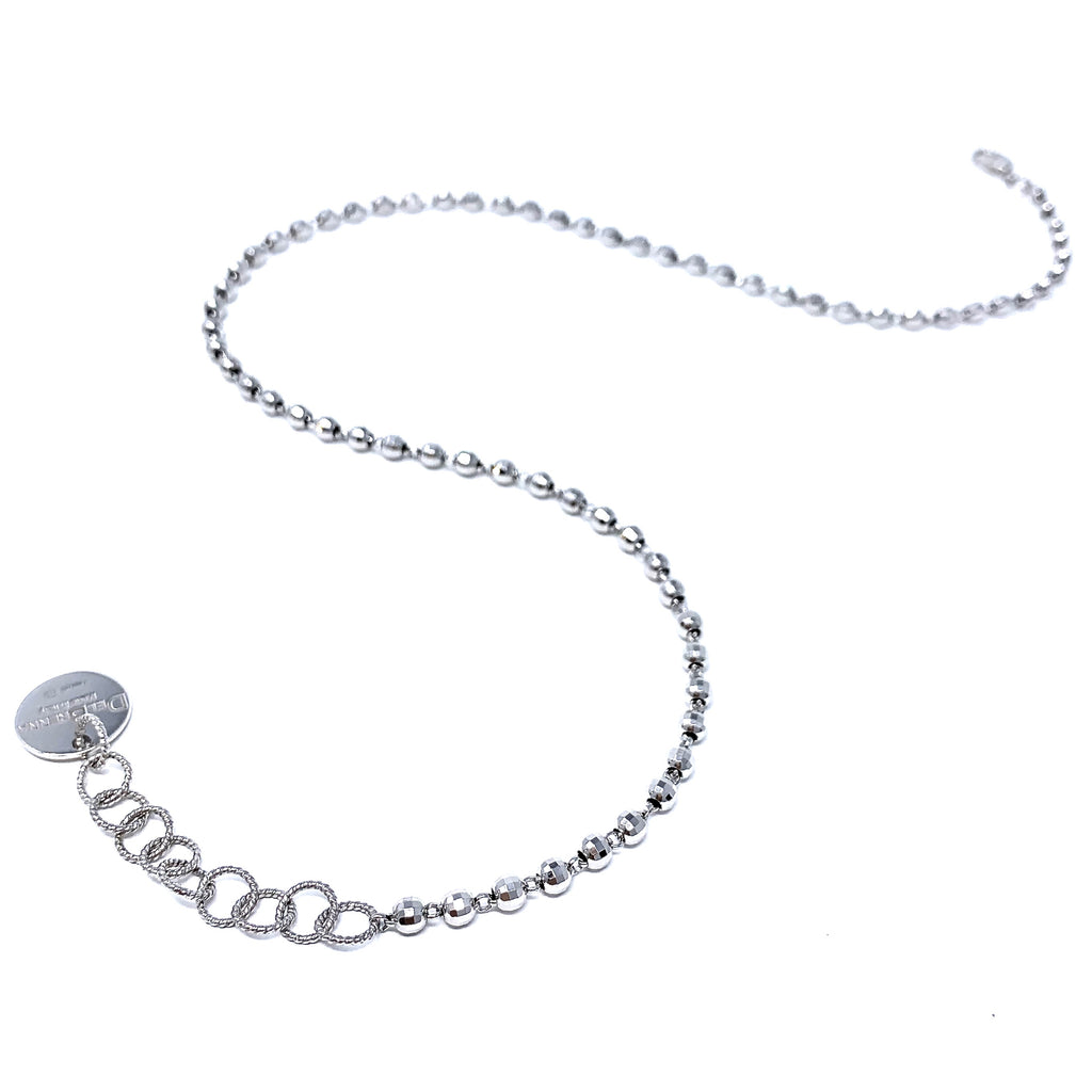 Necklace Diamond Beads 3mm A Rhodium