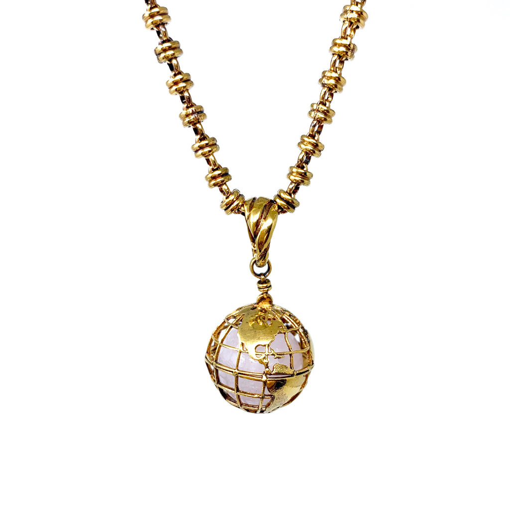 Pendant Globe Small Rose Quartz Antique Gold