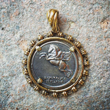 Filary Pegasus 10 Lira silver Coin Antique Gold