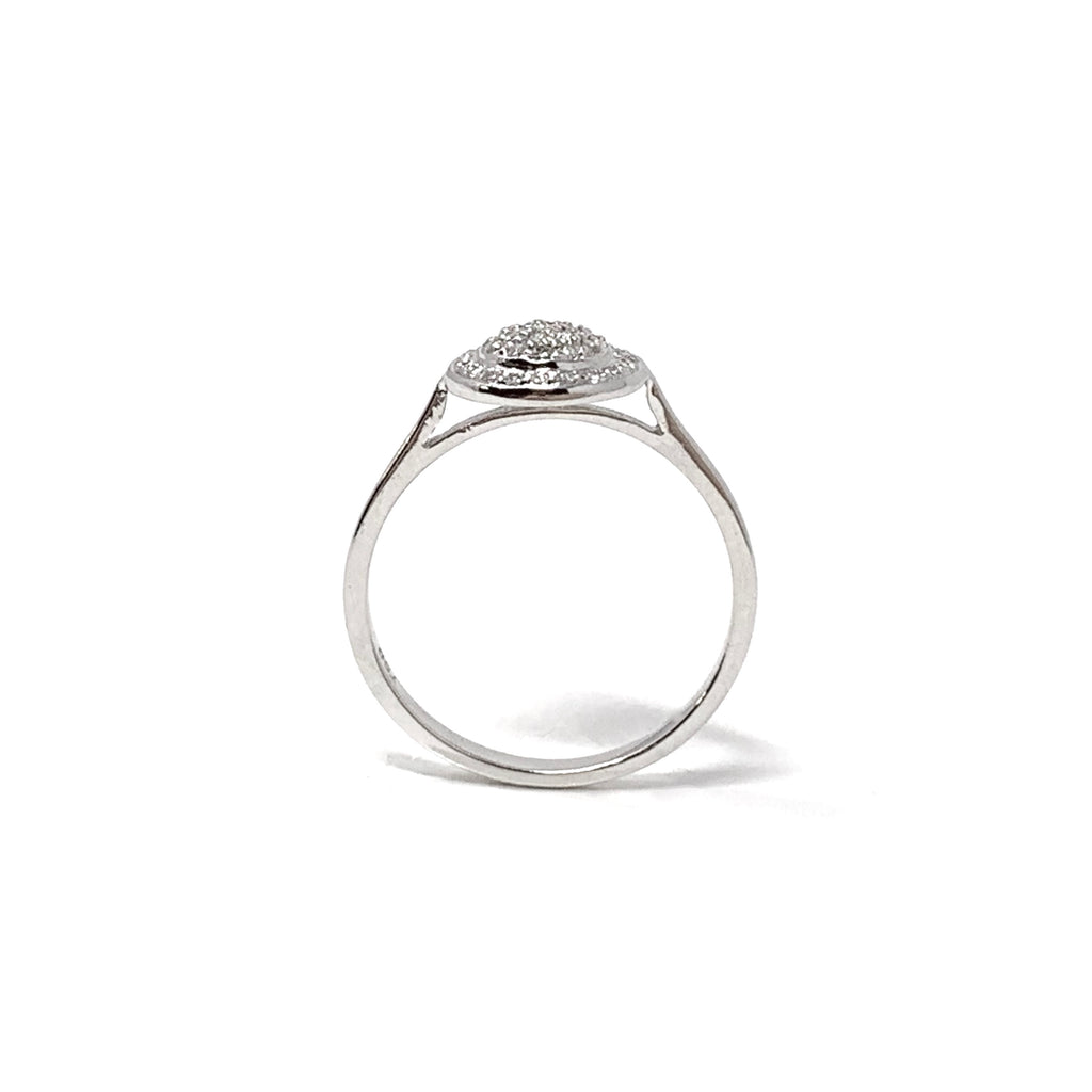 Ring 18K White Gold Diamonds Pavé Round Double 0,18ct
