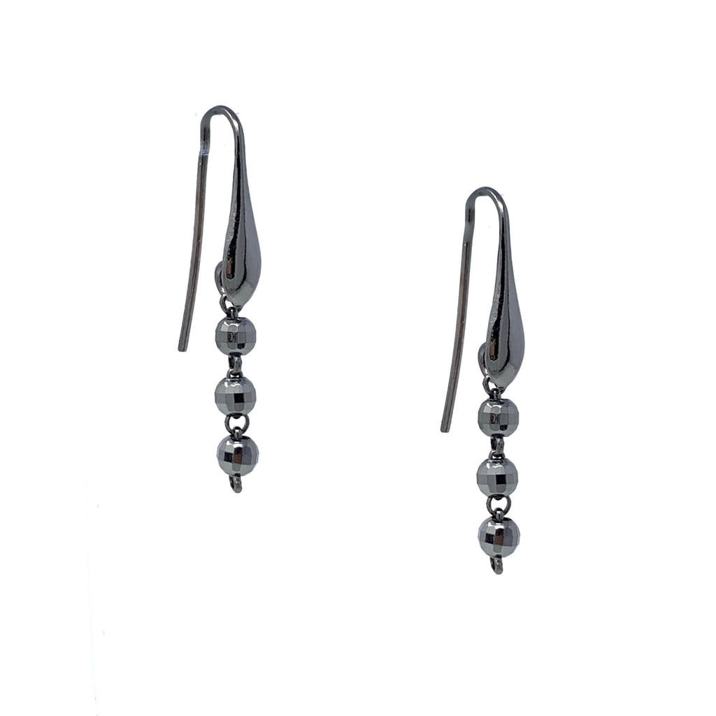Earrings Diamond Beads 3mm x3 Black Rhodium