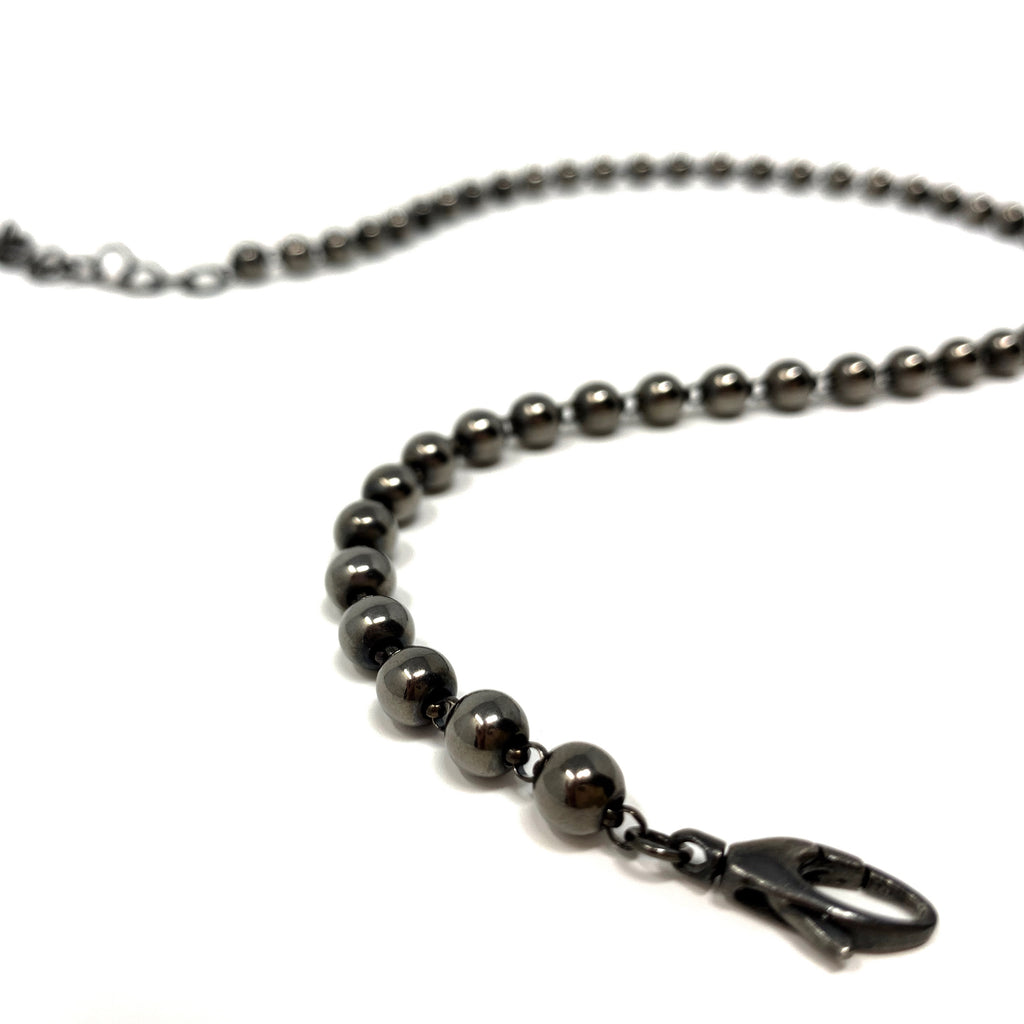 Necklace Beads 5mm B Black Rhodium