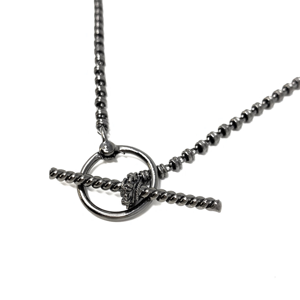 Necklace T-Bar Links 3mm Black Rhodium