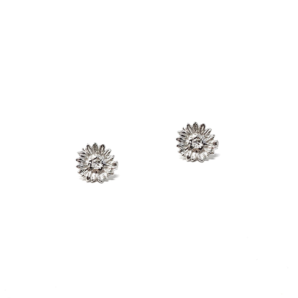 Earrings Sunflower Small Studs Rhodium
