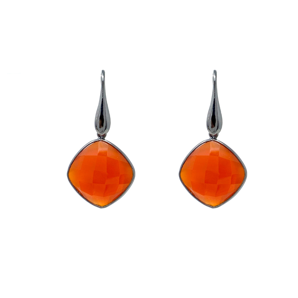 Earrings Dolce Vita Carnelian Square Black Rhodium