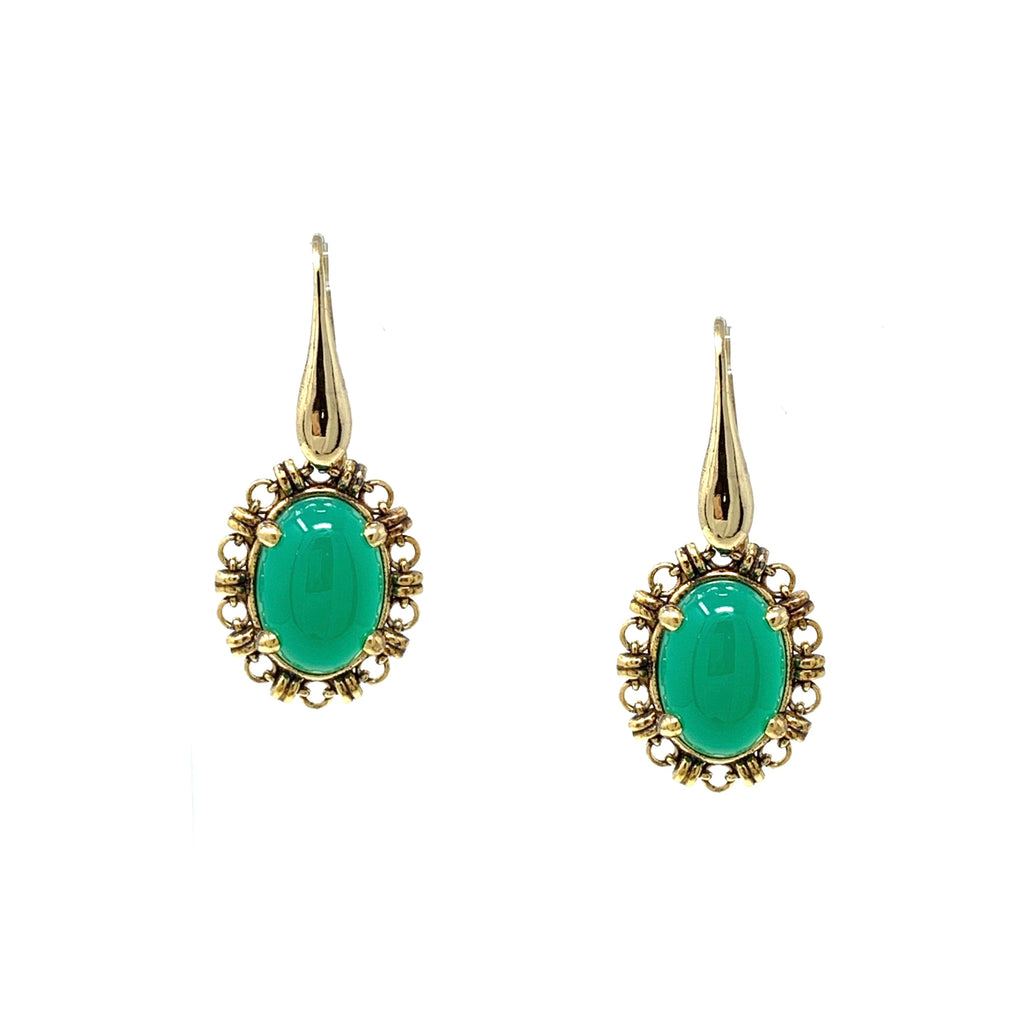 Earrings Aperitivo 14x10mm Jade Cabochon Antique Gold