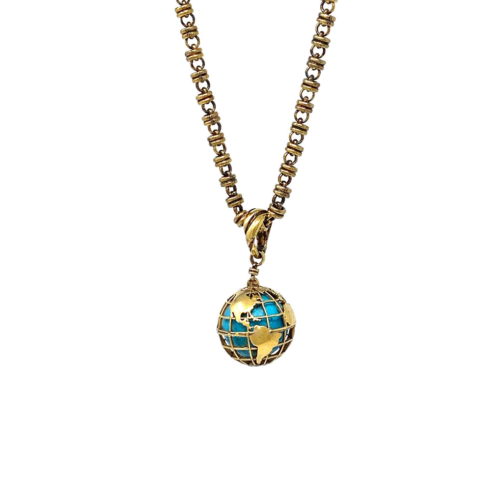 Pendant Globe Small Turquoise Matrix Antique Gold