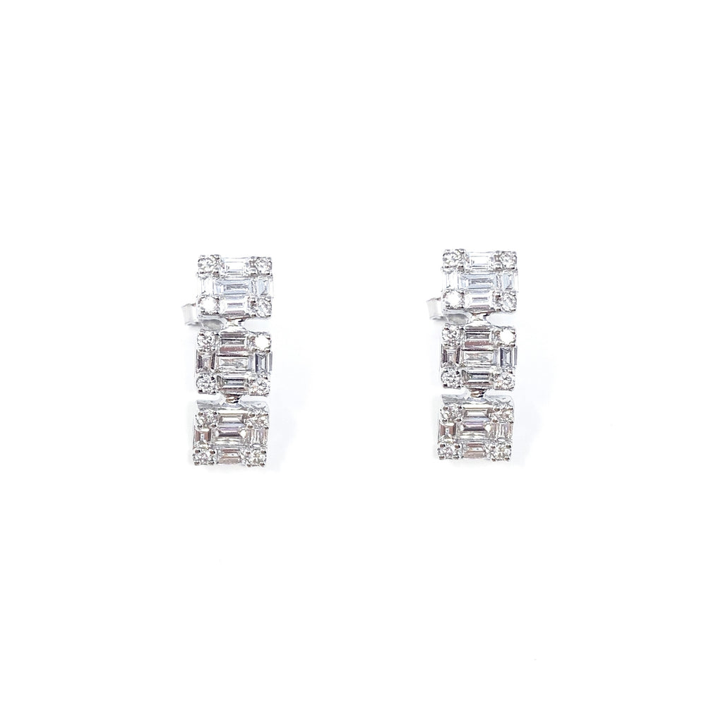 Earrings 18K White Gold Diamond Baguette x3 1.48ct