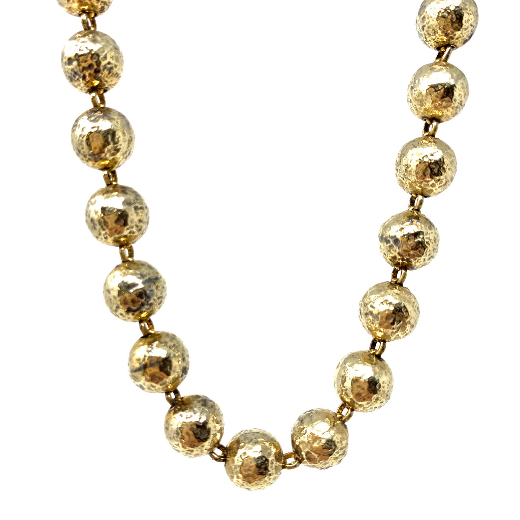Necklace Hammered Beads A Antique Gold