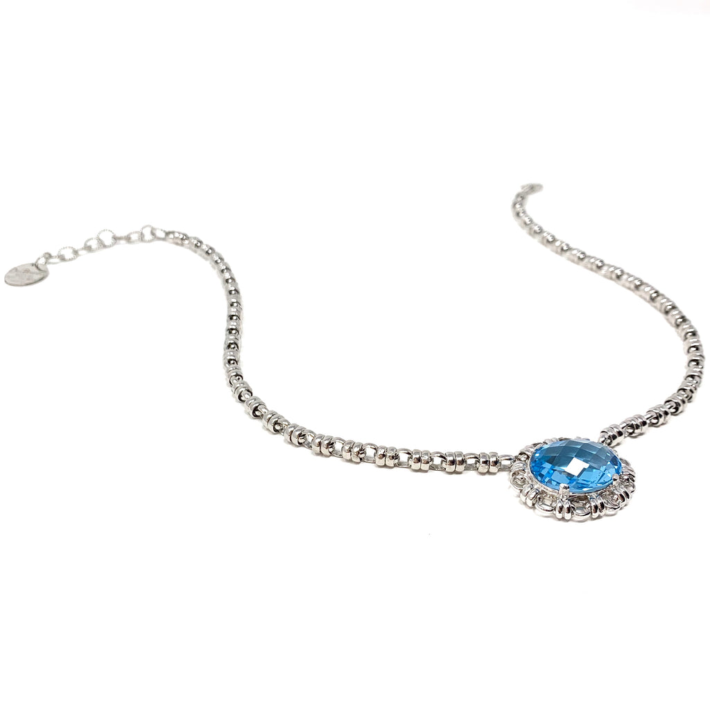 Necklace Megani 20x15mm Blue Topaz Rhodium