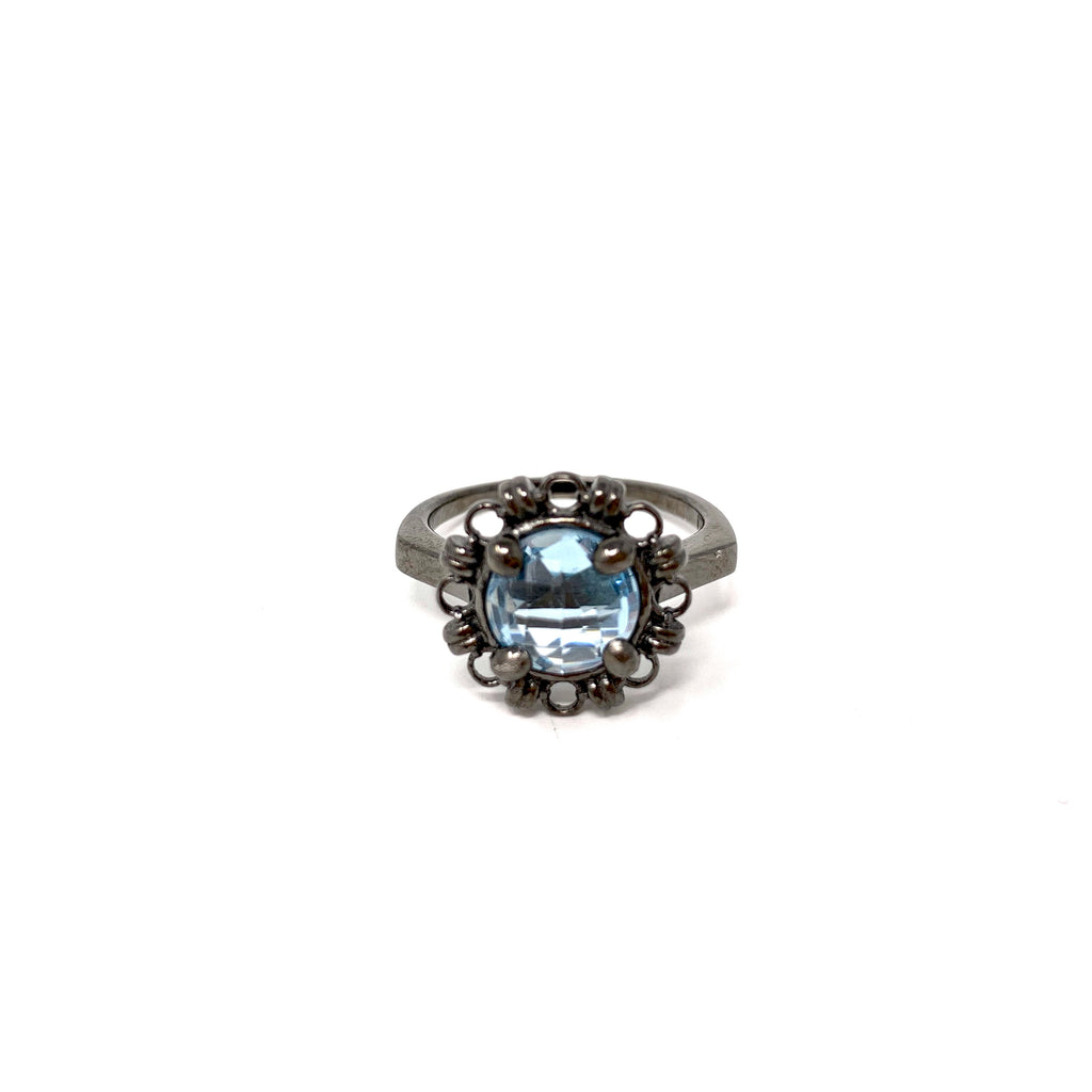 Ring Filary 8mm Blue Topaz Briolette Black Rhodium