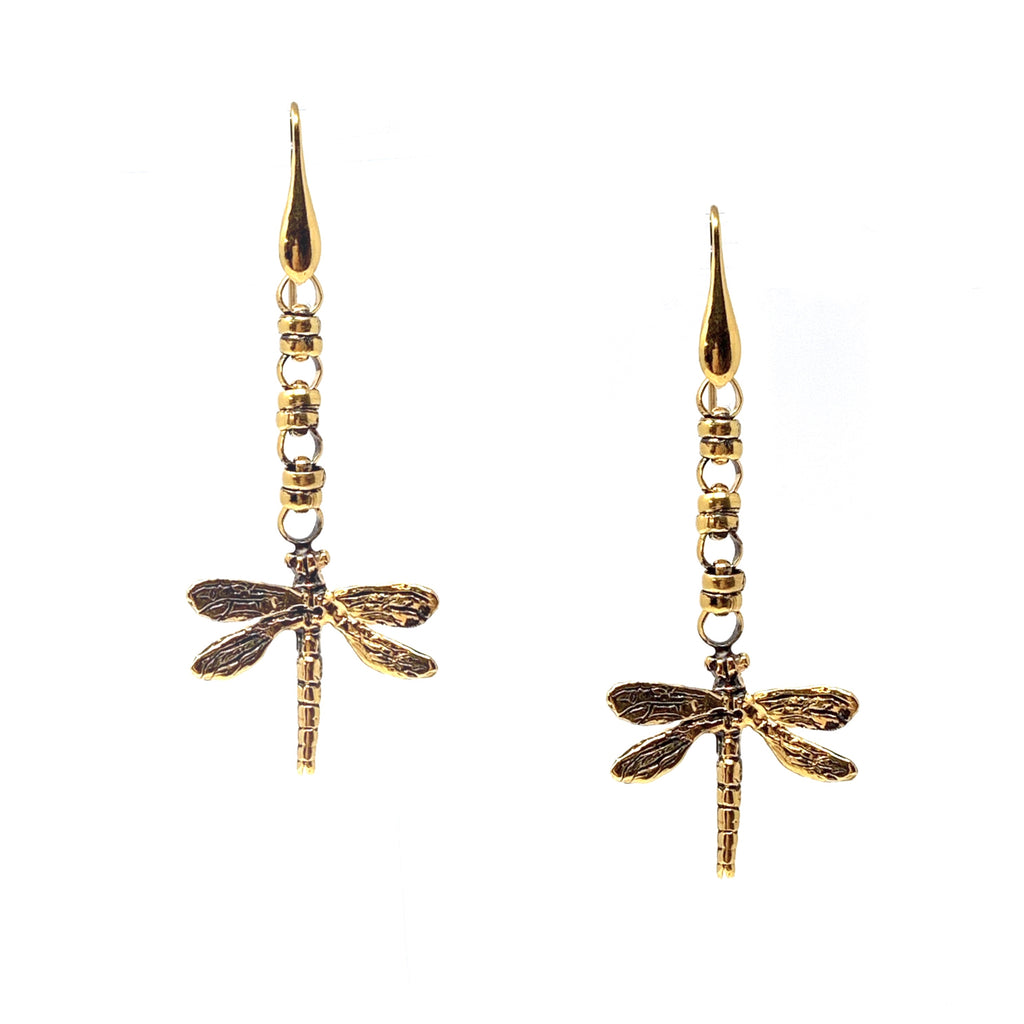 Dragonflies Earrings in Gold with Links 5mm