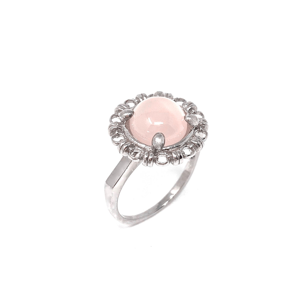 Ring Filary 10mm Rose Quartz Cabochon Rhodium