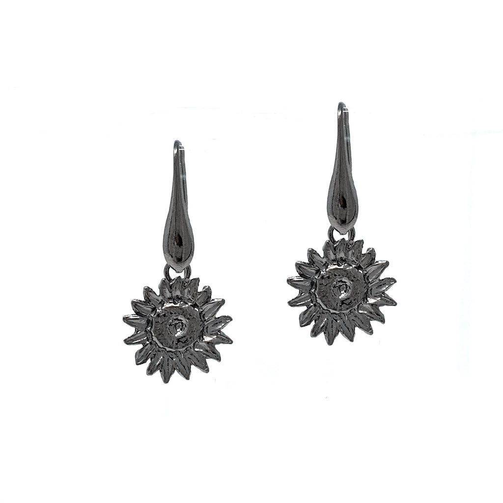 Earrings Sunflower Large Dangles Black Rhodium