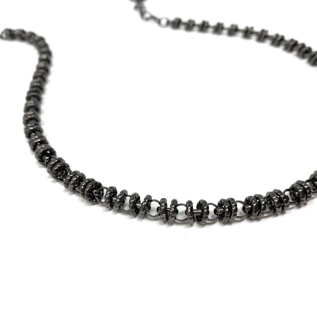 Necklace Etruscan Links 7mm A Ruthenium