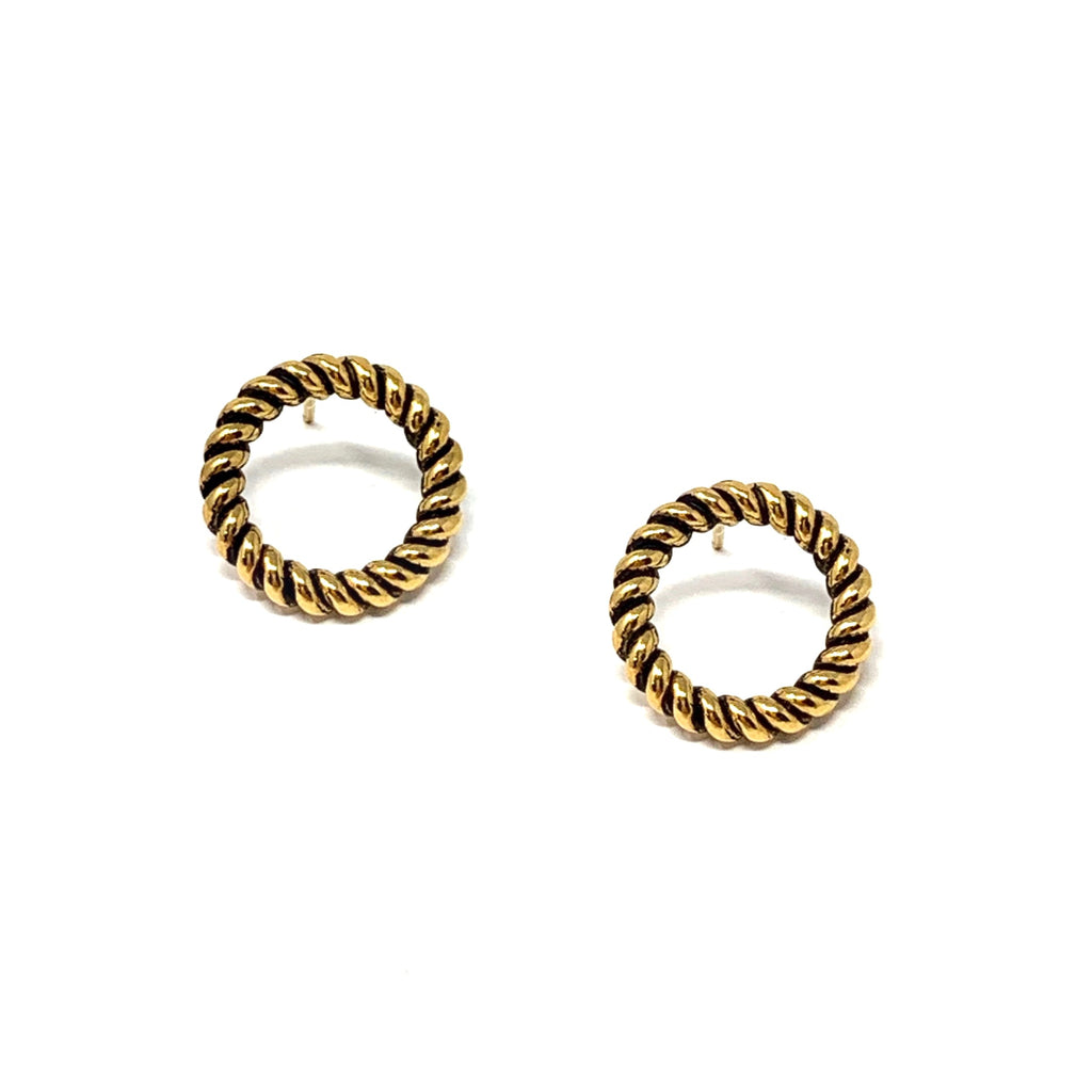 Earrings Rope Circle Studs Antique Gold