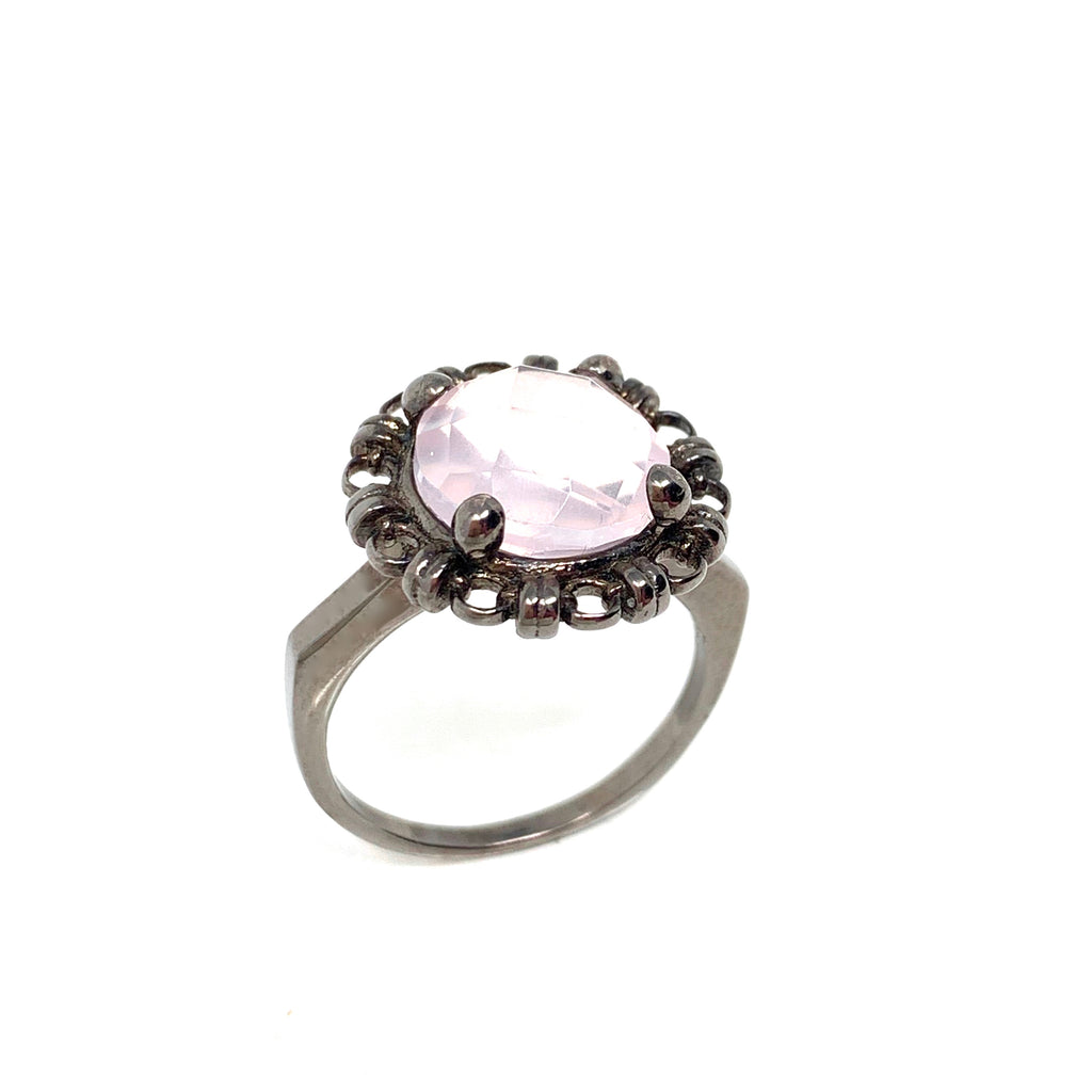 Ring Filary 10mm Rose Quartz Briolette Black Rhodium