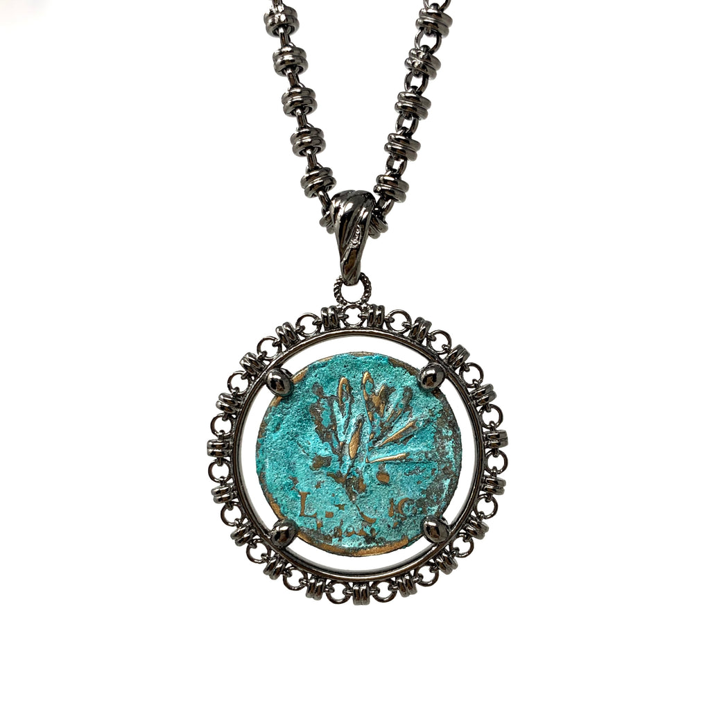 Pendant Filary Coin Pegasus Green Small Ruthenium