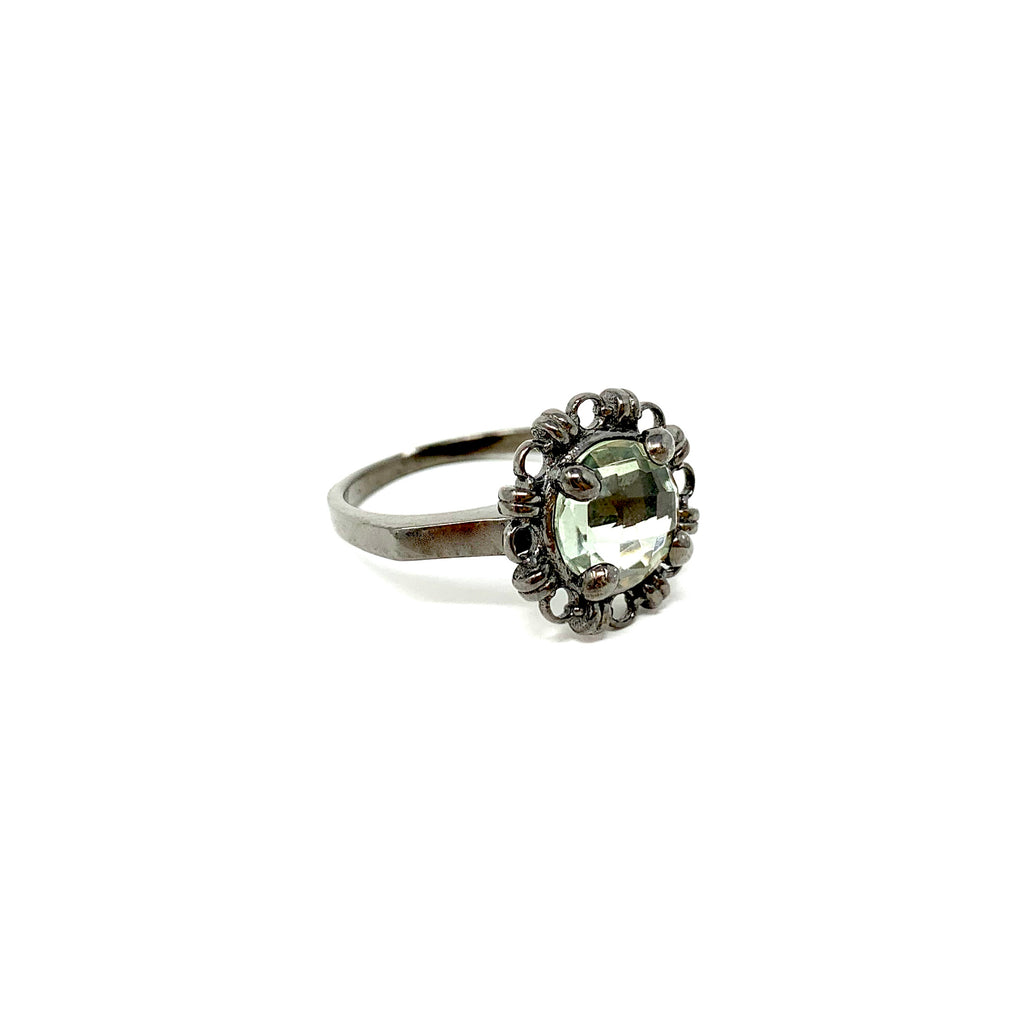 Ring Filary 8mm Green Amethyst Briolette Black Rhodium