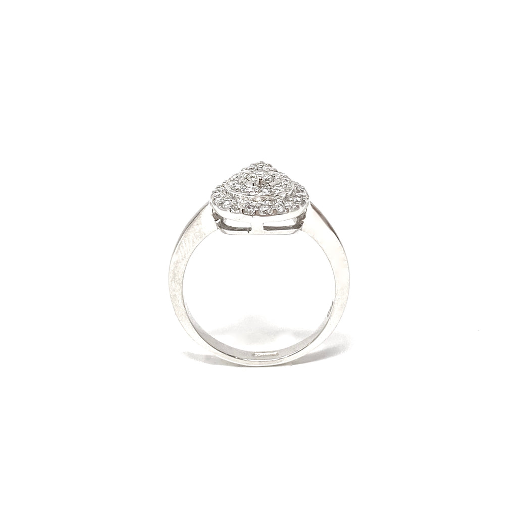 Ring 18K White Gold Diamonds Pear Shape 0,48ct