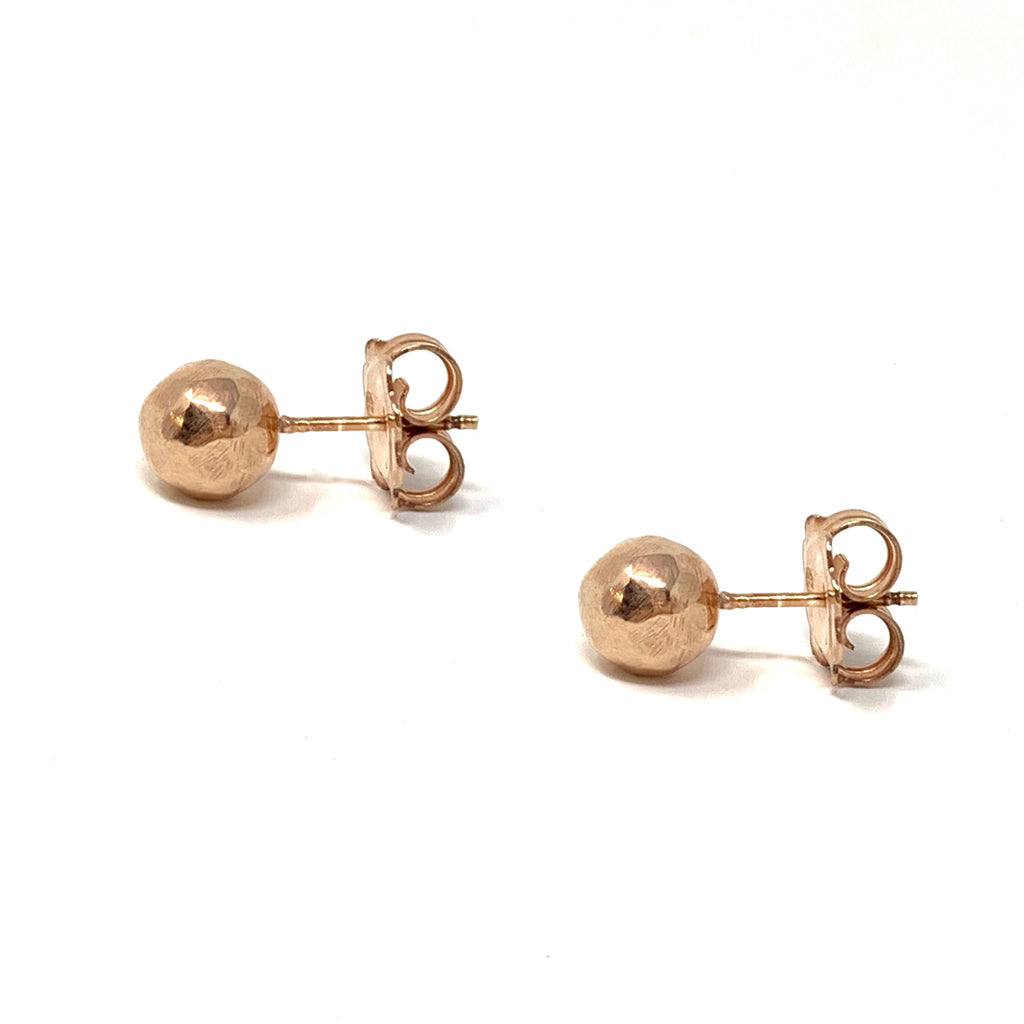 Earrings Hammered Beads Studs Rose Gold