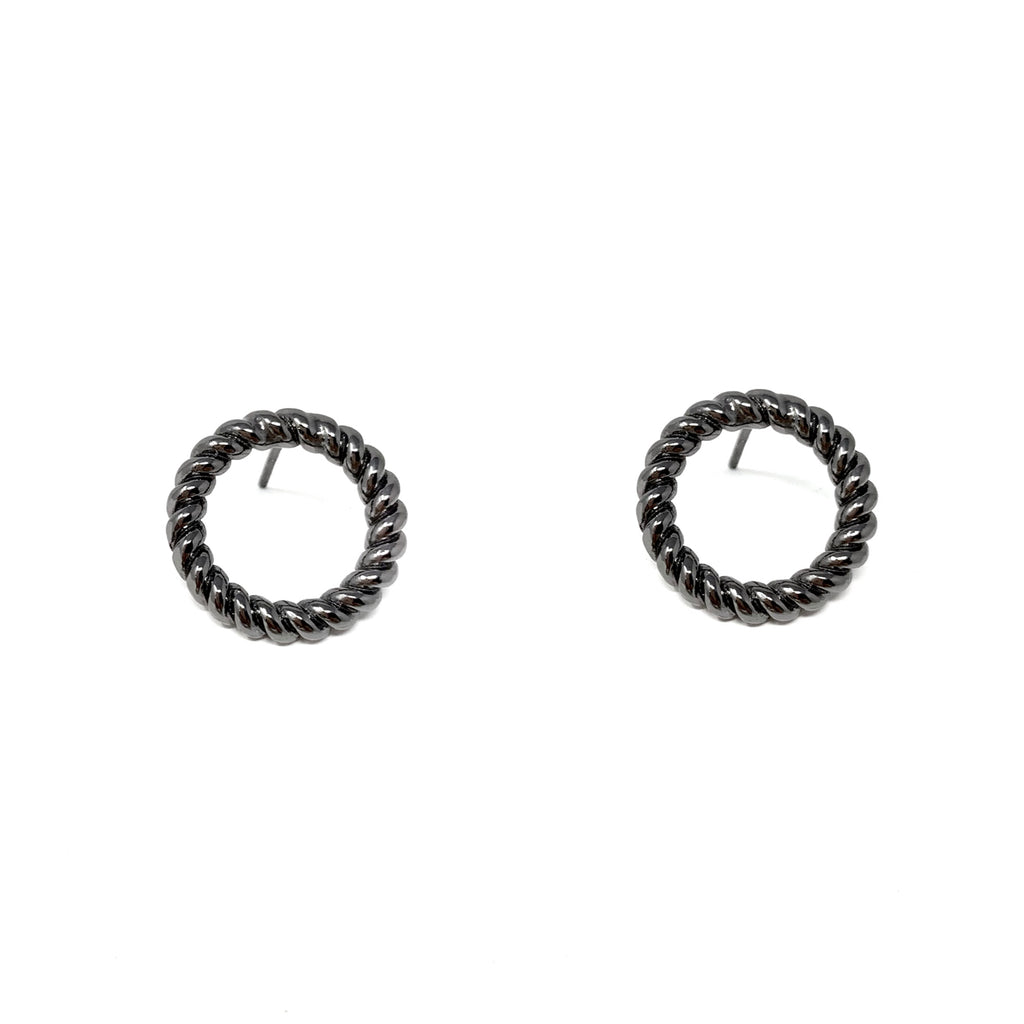 Earrings Rope Circle Studs Ruthenium