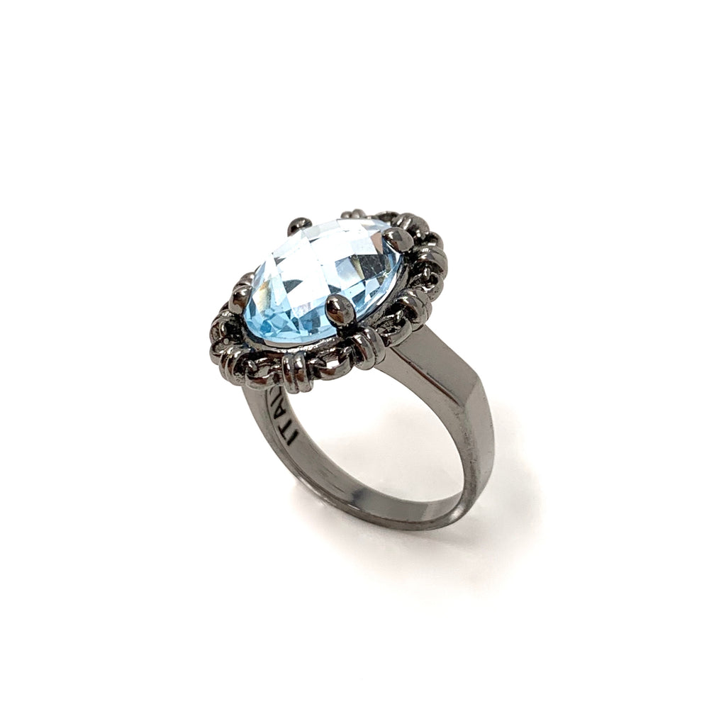 Ring Aperitivo 14x10mm Blue Topaz Briolette Black Rhodium