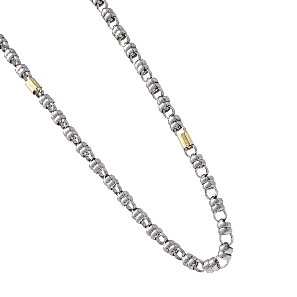 Necklace Links 7mm and Cylinders 7mm 18K Gold D Rhodium