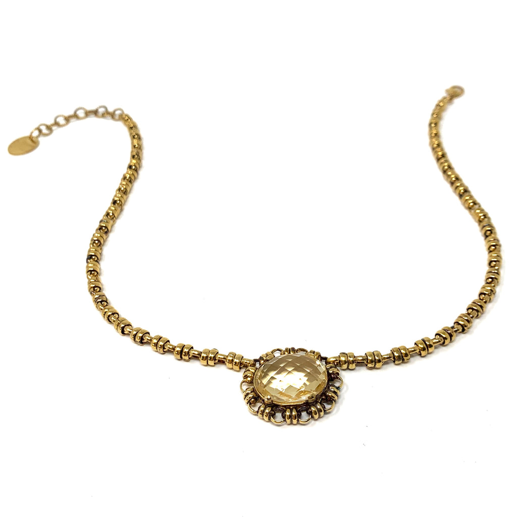 Megani Necklace in Gold with Citrine
