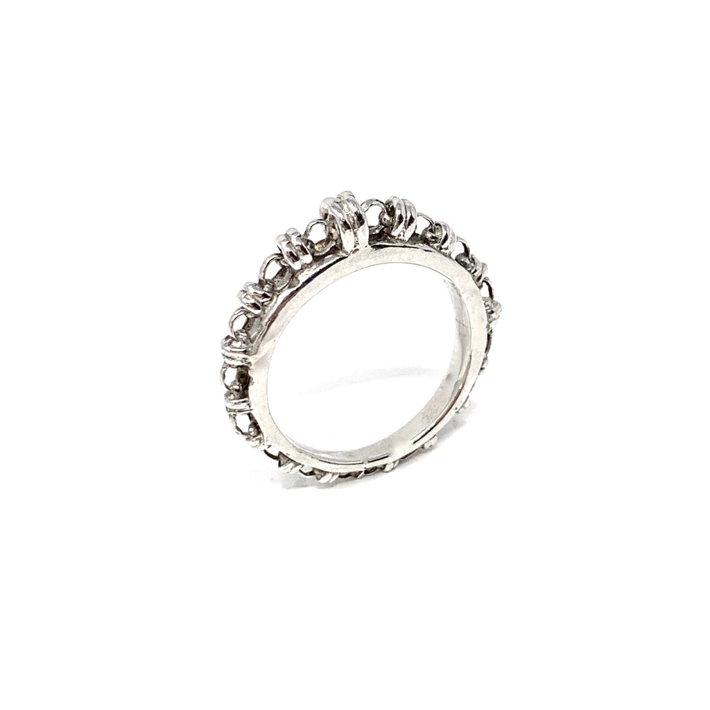 Ring Links Scalare Rhodium