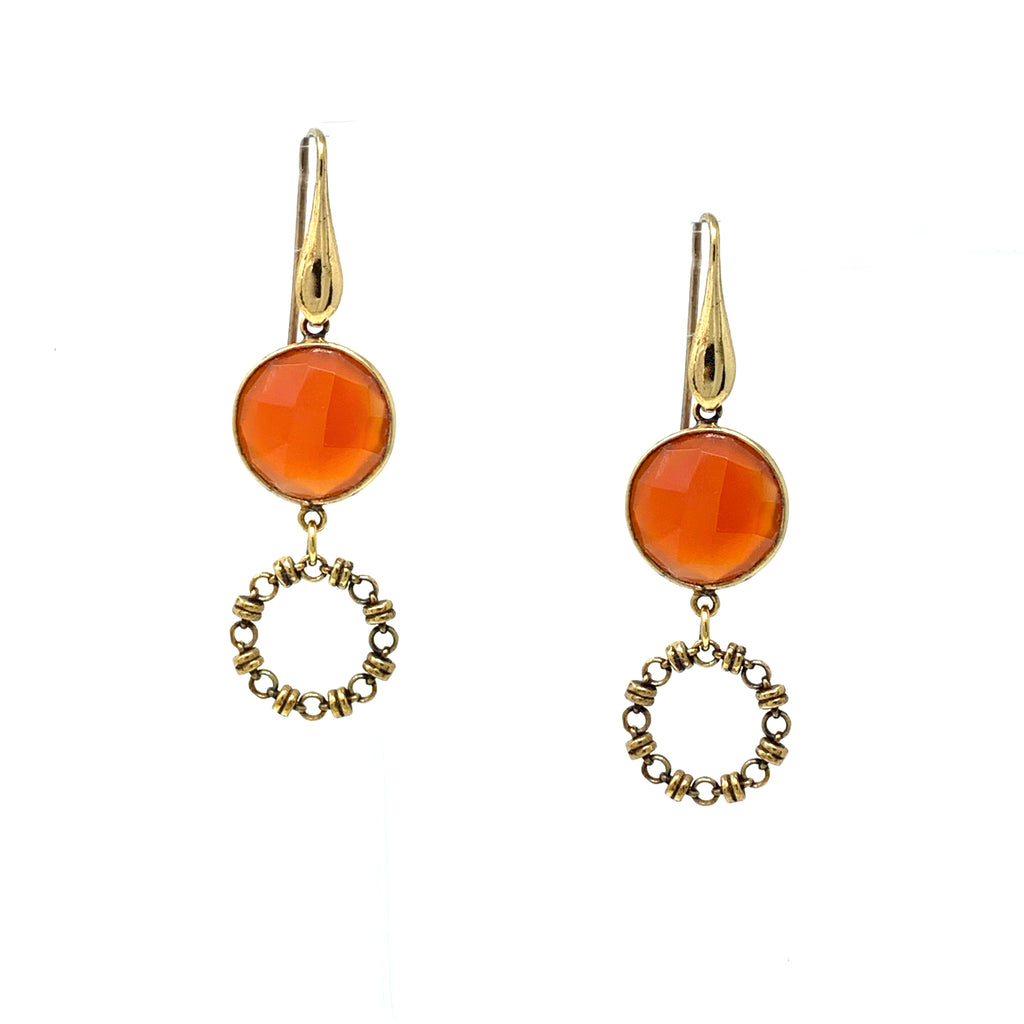 Earrings Botticelli x1 Carnelian x1 Antique Gold