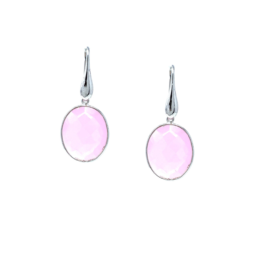 Earrings Dolce Vita Pink Jade Oval Rhodium