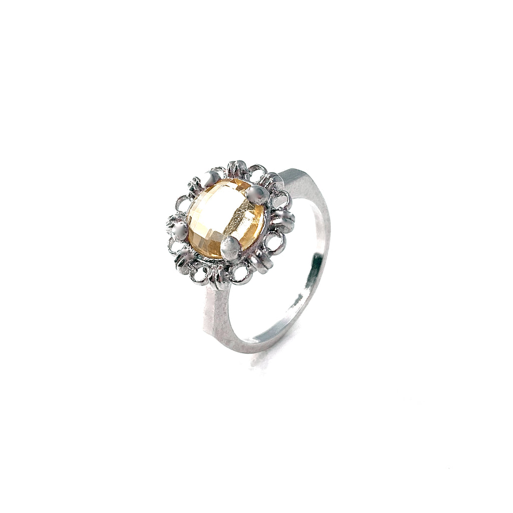 Ring Filary 8mm Citrine Briolette Rhodium