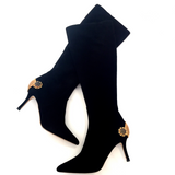 "Black ""Mimosa Mesh"" Jewel Boots"