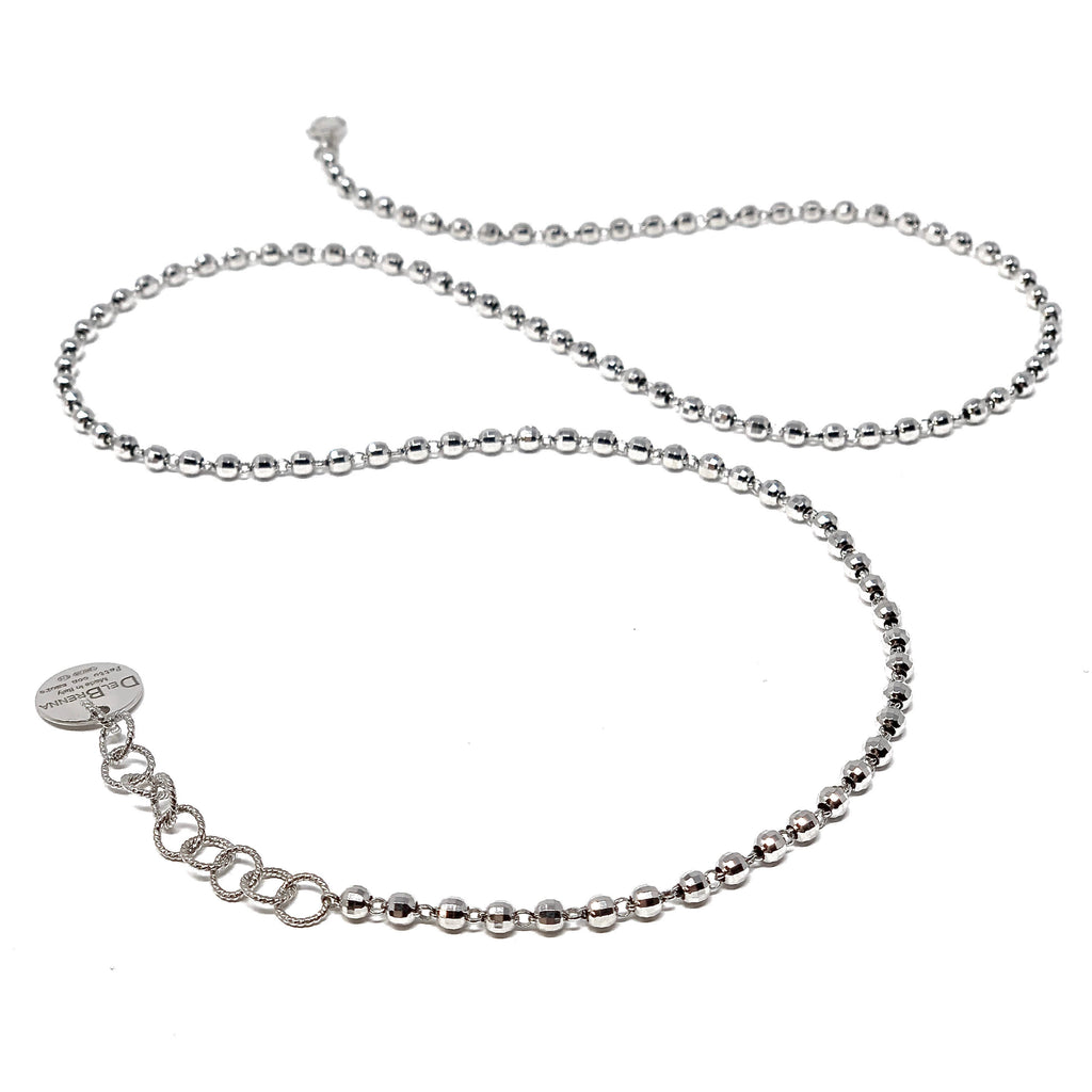 Necklace Diamond Beads 3mm C Rhodium