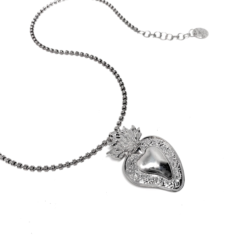 Pendant Flaming Heart Rhodium