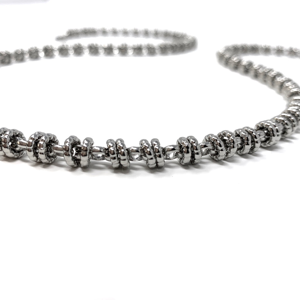 Necklace Etruscan Links 7mm C Rhodium