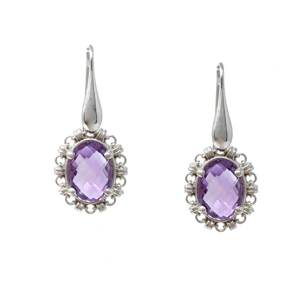 Earrings Aperitivo 14x10mm Amethyst Briolette Rhodium