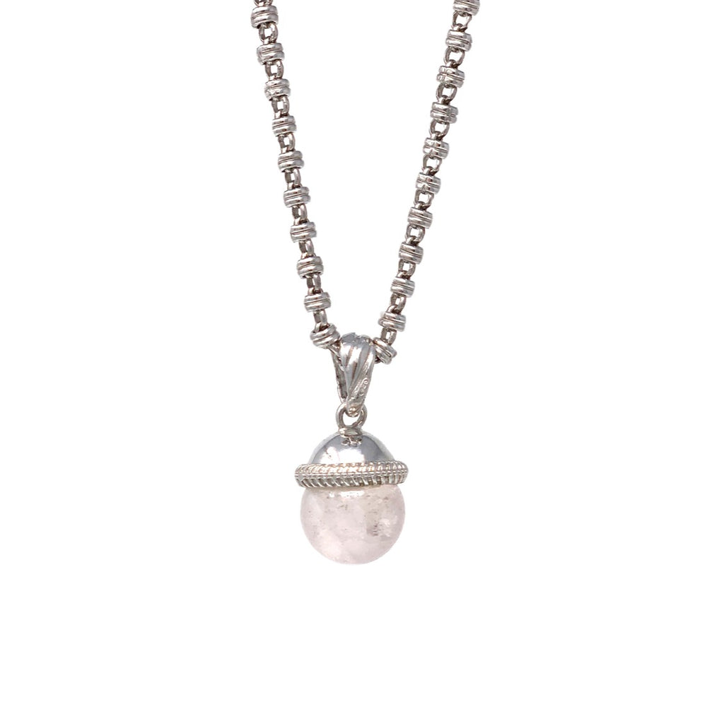 Pendant Cappellino Rose Quartz Small Rhodium