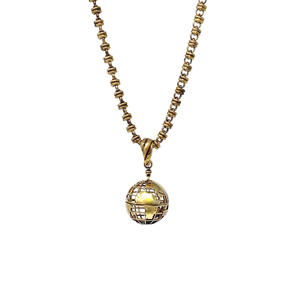 Pendant Globe Small Antique Gold