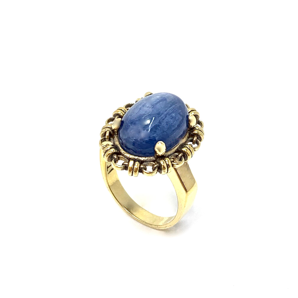 Ring Aperitivo 14x10mm Kyanite Cabochon Antique Gold