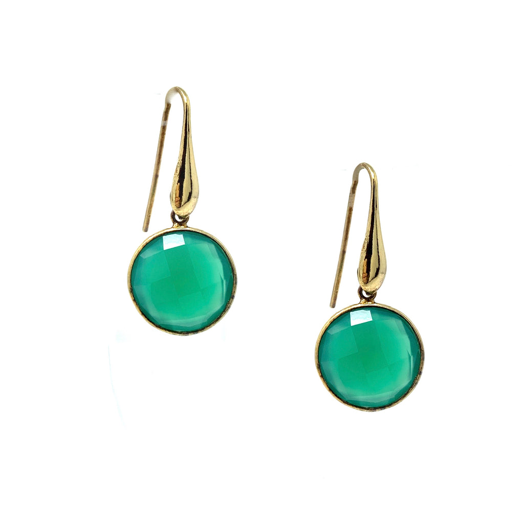 Earrings Dolce Vita Green Agate Round Antique Gold