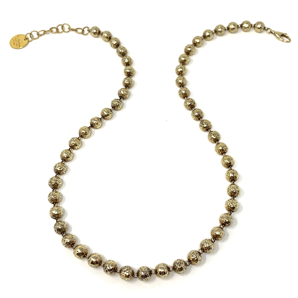 Necklace Hammered Beads B Antique Gold