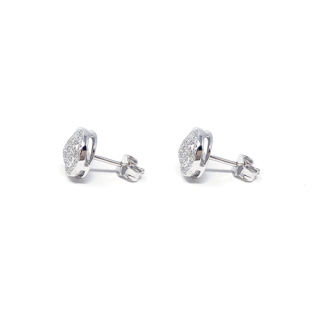 Earrings 18K White Gold Diamonds Pavé Round Double 0,38ct