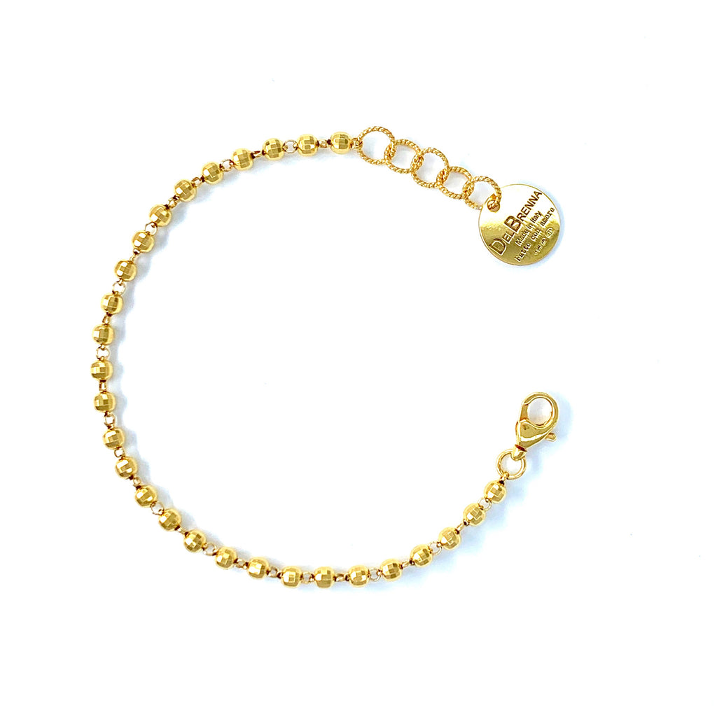 Bracelet Diamond Beads 3mm Gold